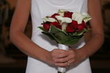 hold flower wedding dress gown white rose cali poster