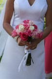 pink white rose dress gown wedding bride poster