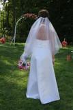 back wedding dress gown white elegant flower poster