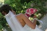 wedding dress gown back veil rose white pink poster