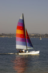 sailing in mission bay, san diego.