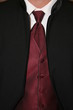 tux formal wear black white maroon shirt tie vest