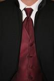 tux formal wear black white maroon shirt tie vest poster