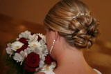 bride hair style up do wedding bouquet pull back poster