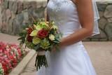 bride flower dress gown white bouquet elegant poster