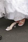shoe white strap bride elegant dress gown poster
