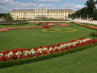 schönbrunn, the garden and the palace in sunny day