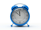 blue alarm clock isolated on white background 3d poster