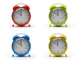 four colourful alarm clocks isolated on white background 3d poster