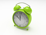 green alarm clock isolated on white background 3d