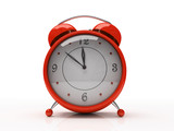 red alarm clock isolated on white background 3d poster