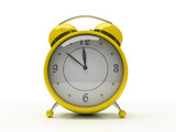 yellow alarm clock isolated on white background 3d poster