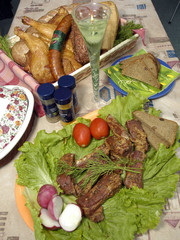 collage: smoked meat, bread, chicken and vegetable