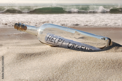 help message in a bottle