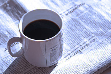 morning coffee and news (blue)