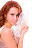 beauty redheaded girl with fan poster