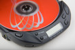 Leinwandbild Motiv portable cd player with red disk