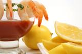 shrimp cocktail on white w/lemons level poster
