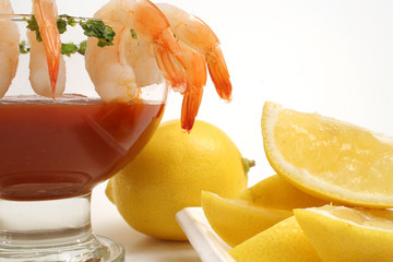shrimp cocktail on white w/lemons level