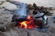 bouilloire près du feu
