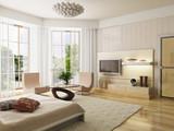 bedroom interior rendering poster