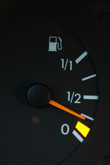 petrol meter showing low petrol level