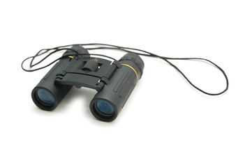 black binoculars isolated on the white background