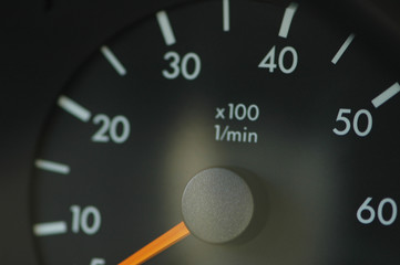 close-up on the car speedmeter