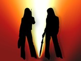 two women silhouette in bright light poster