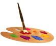 künstler pinsel mit farb palette