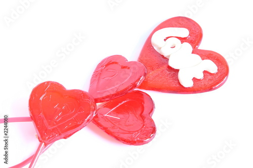 red lollipops in shape of heart