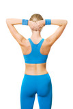 fitness trainer from behind poster