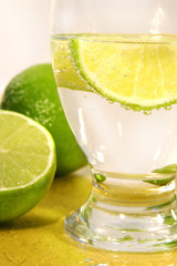 soda with lime wedge