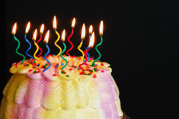lighted birthday cake