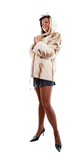 girl in fur coat on white background poster