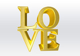 love as gold 3d text with heart
