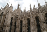 scupltures in detail on milan cathedral poster