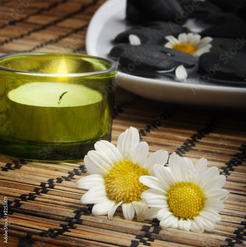 daisies and candle before pebbles