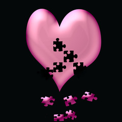 valentine heart fall to pieces