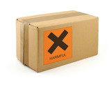 cardboard box with harmful content poster