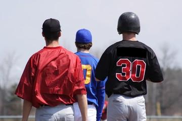 three baseball players