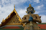 mythical giant guardian (yak) at wat phra kaew poster