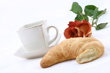 croissant, cup of caffee