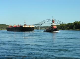 barge being towed.