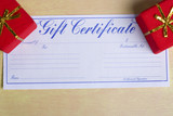 bright red gifts with a gift certificate poster