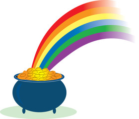 pot of gold with a rainbow shining in it