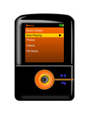 mp3 player orange and black poster