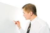 businessman write marker on white desk on white background poster