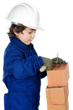 adorable future builder constructing a brick wall poster