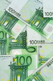 euro banknotes background poster